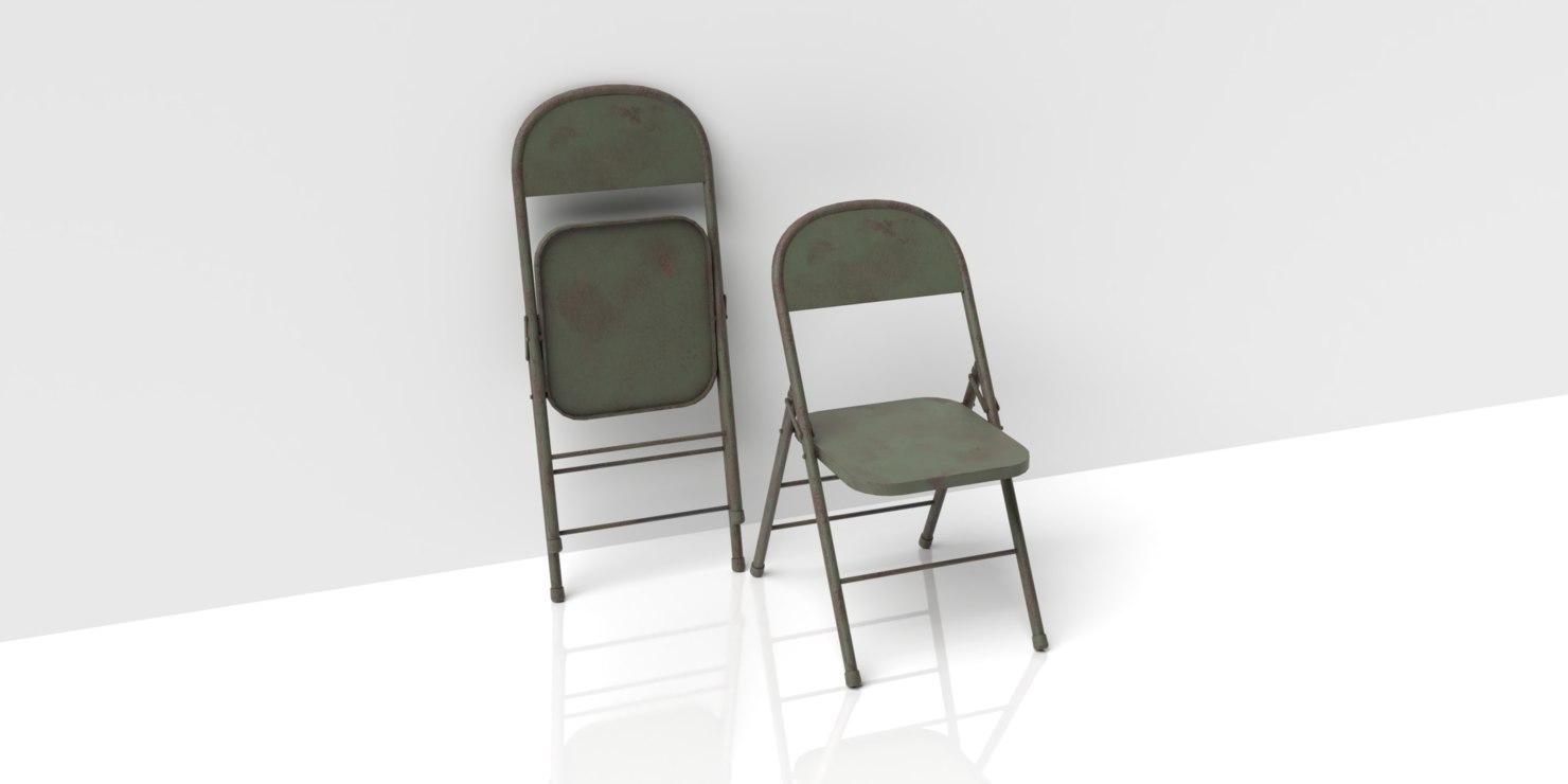 metallic folding chair old 3D model