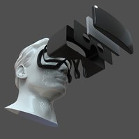 CAD Male Head Model M2P1D0V1head and VR headset template 3D model