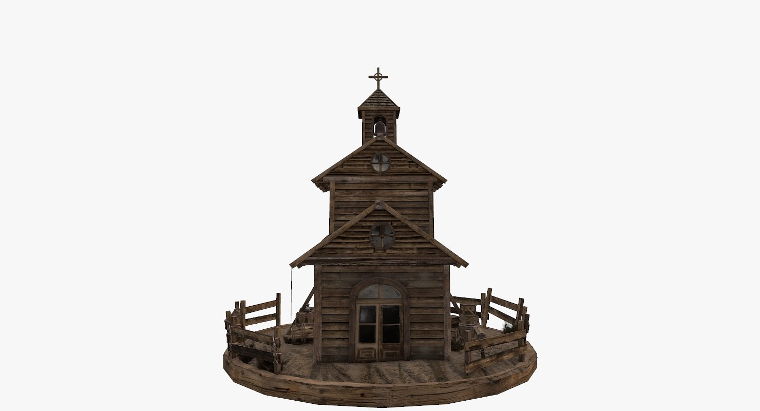 3D model old west church wooden