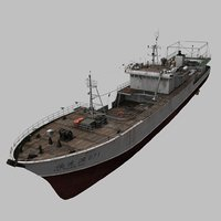 real-time fishing vessel ship 3D model