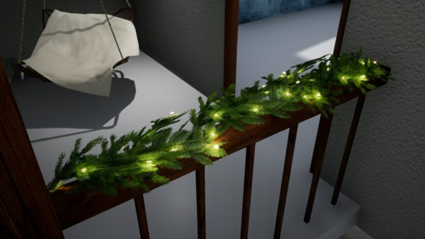 3D norvedem christmas garland fir model