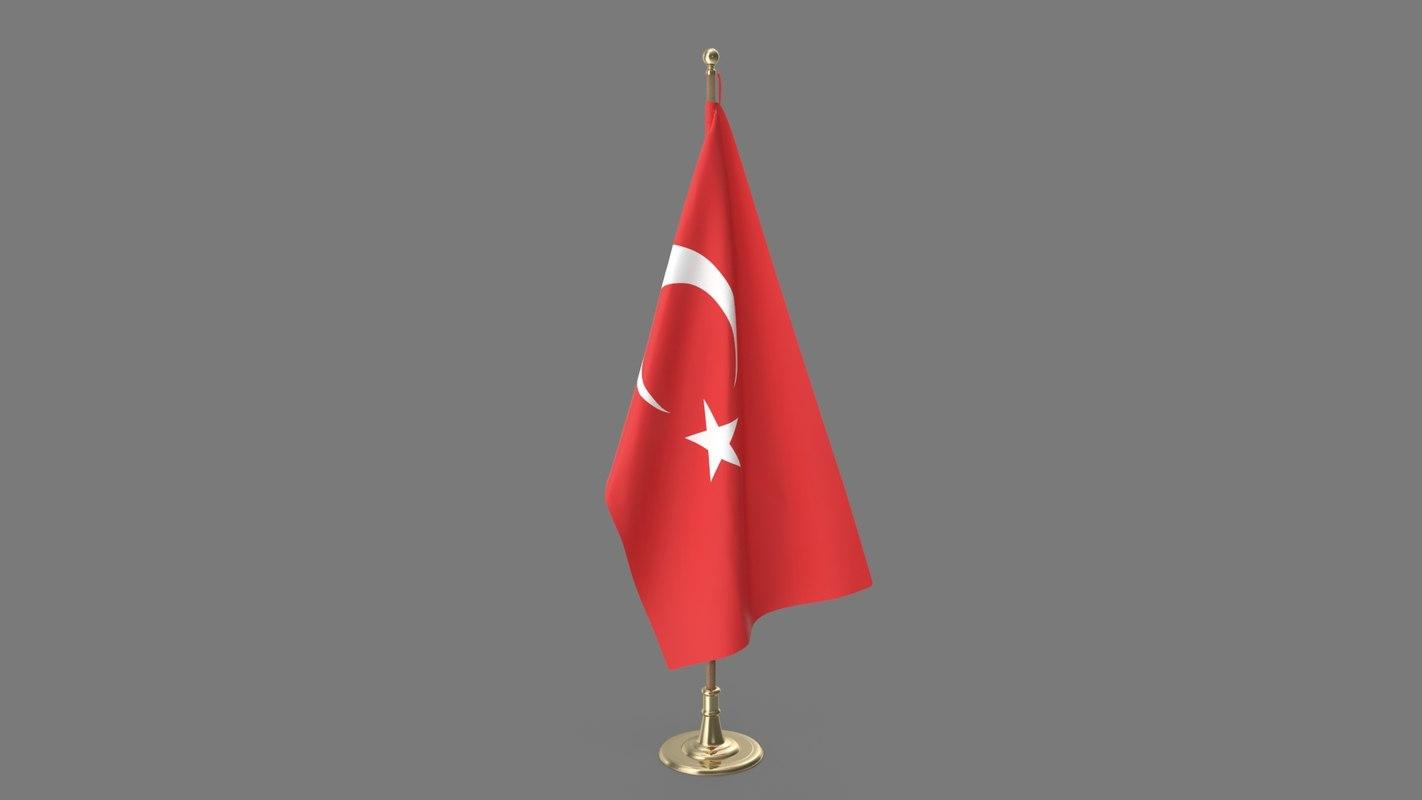 3D turkish office flag model