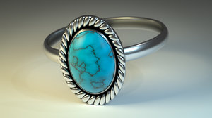 3D ring turquoise stone