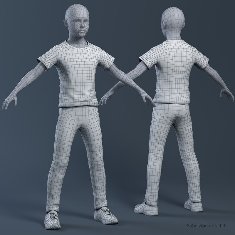boy with clothes wireframe 3d model rigged