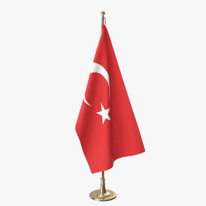 3D turkish office flag model