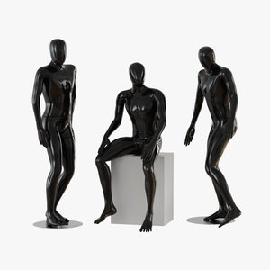 3D black male mannequins model