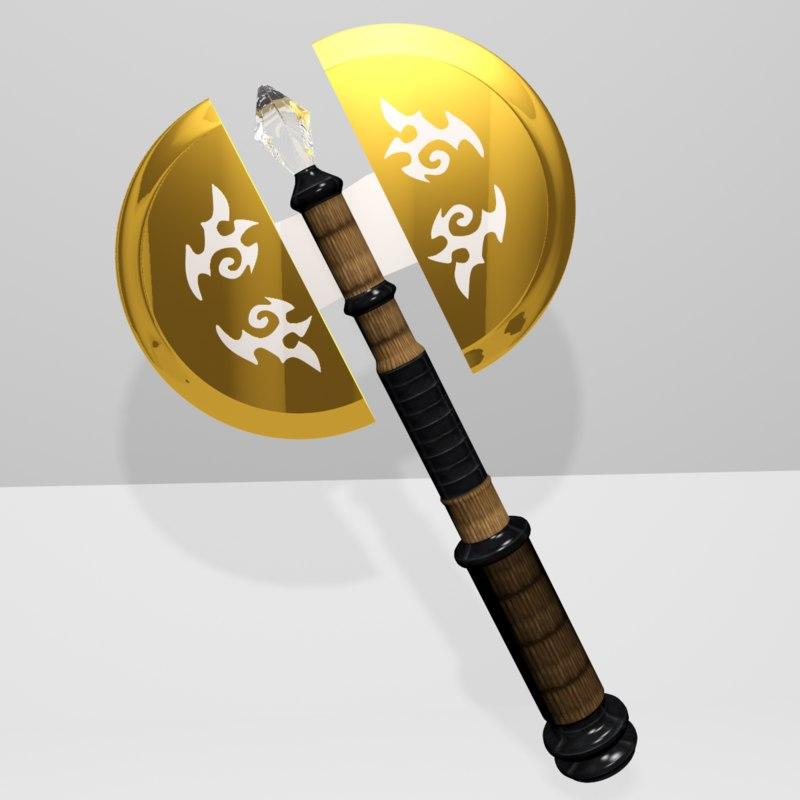 battle axe golden 3D model