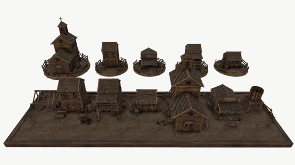 old west environment kitbash 3D model