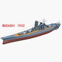 3D japanese battleship musashi 1942