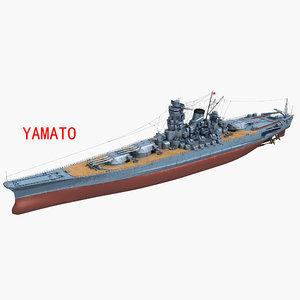 3D japanese battleship yamato