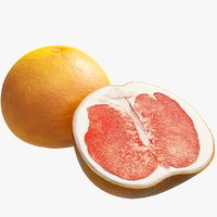 realistic red grapefruit 3D model
