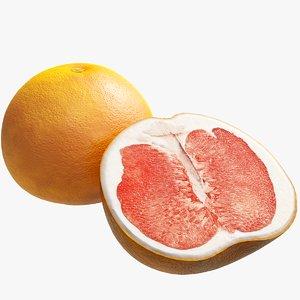 realistic red grapefruit 3D model
