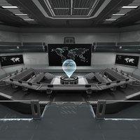 futuristic control room 3D model