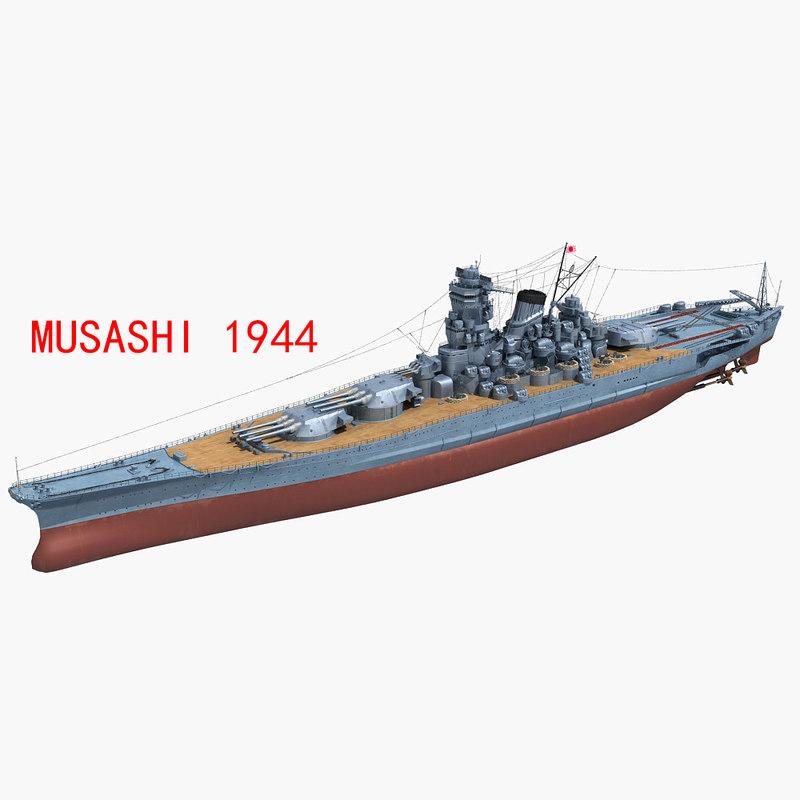 3D japanese battleship musashi 1944 model
