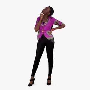 3d model business woman thinking human