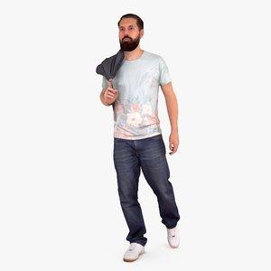 casual man beard walking people max