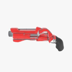 3D sci-fi revolver model