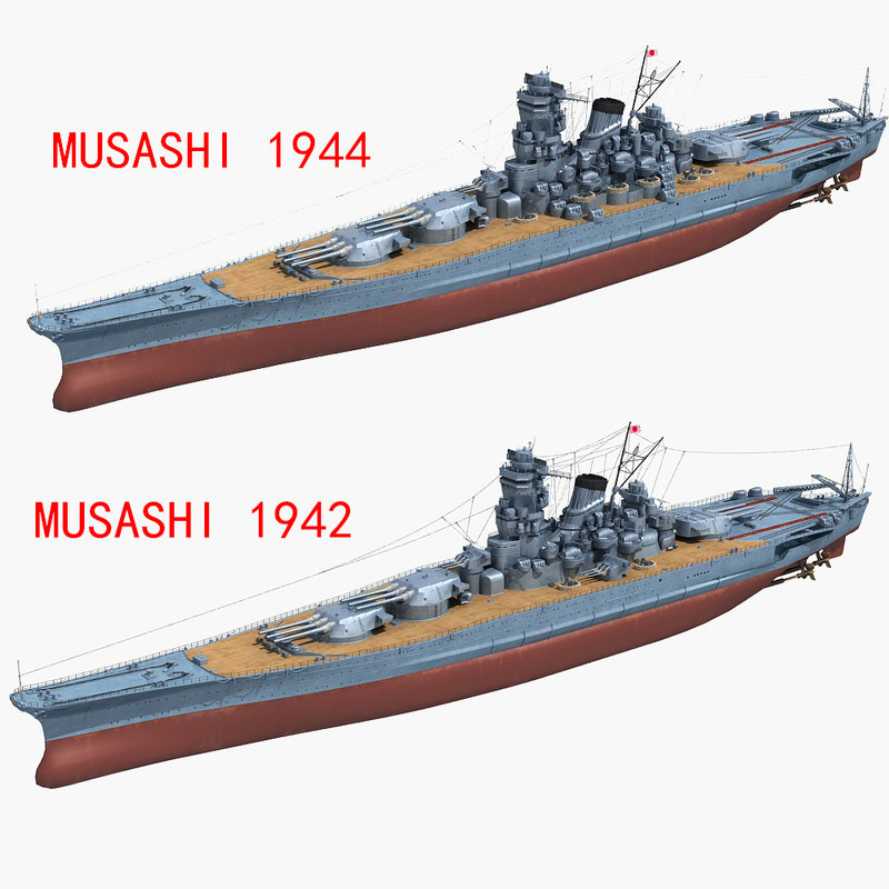 japanese battleship musashi 1942 3D model