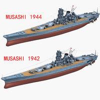 japanese battleship musashi 1942 3D model