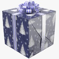 real gift box ribbon 3D