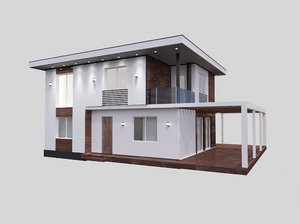 two-storey house modern 3D
