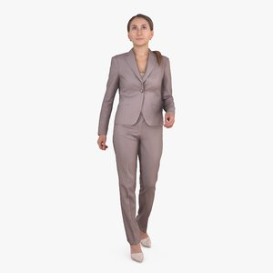 3D active business woman human body