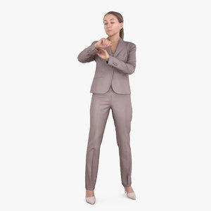 3D businesswoman check time human body model