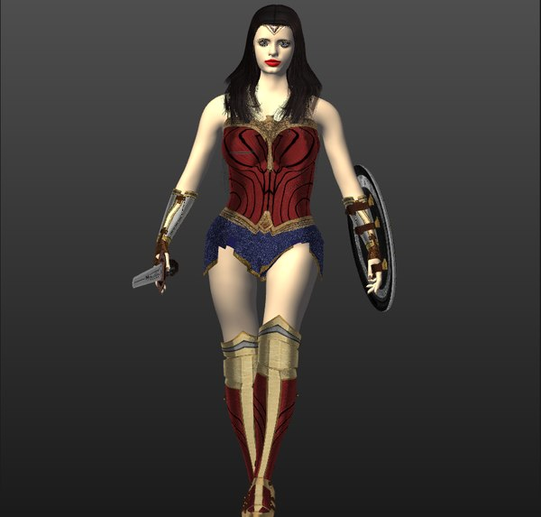 rigged wonder women 3D model