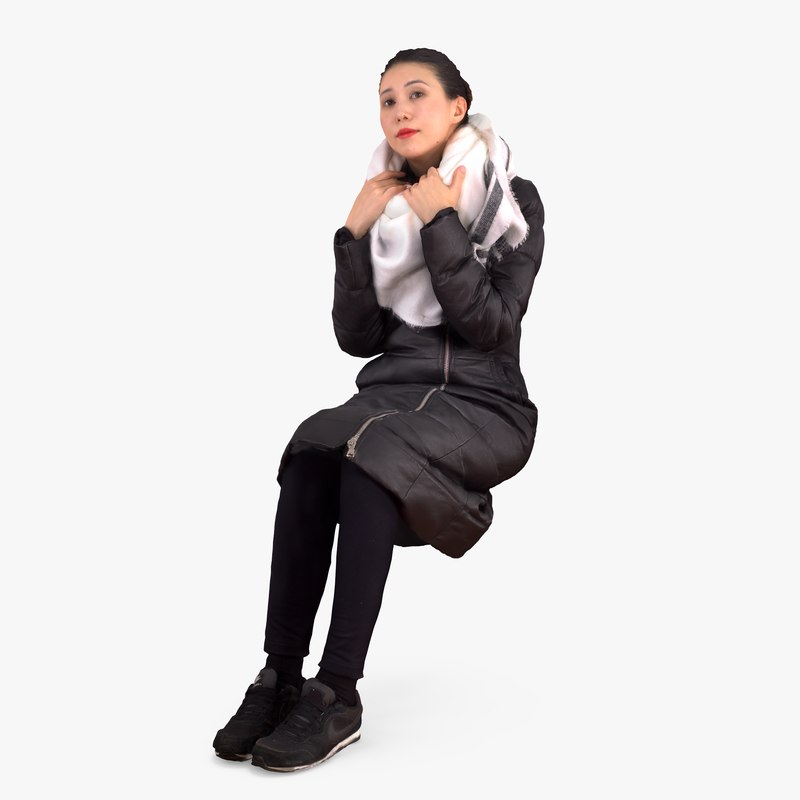 3d model casual asian woman sitting people
