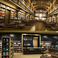 3D library bookstore model