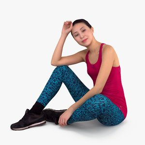 3d asian fitness women sitting people model