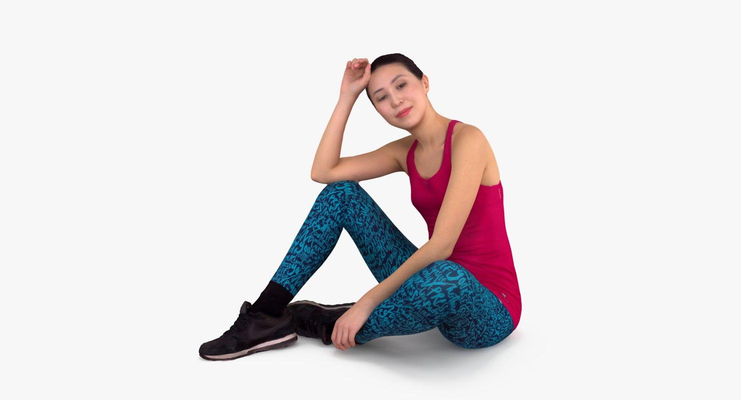 3d asian fitness women sitting people model