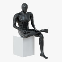 abstract male mannequin sitting 3D model