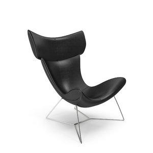 max black leather imola chair