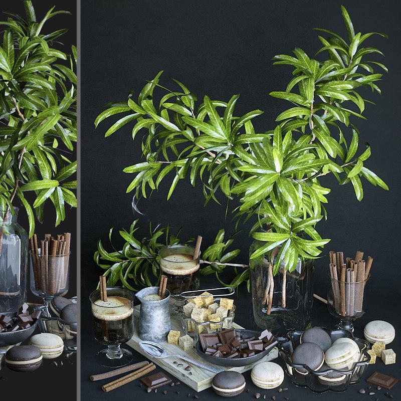 3D decorative set mango branches