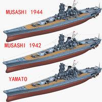 japanese yamato musashi 1942 3D model