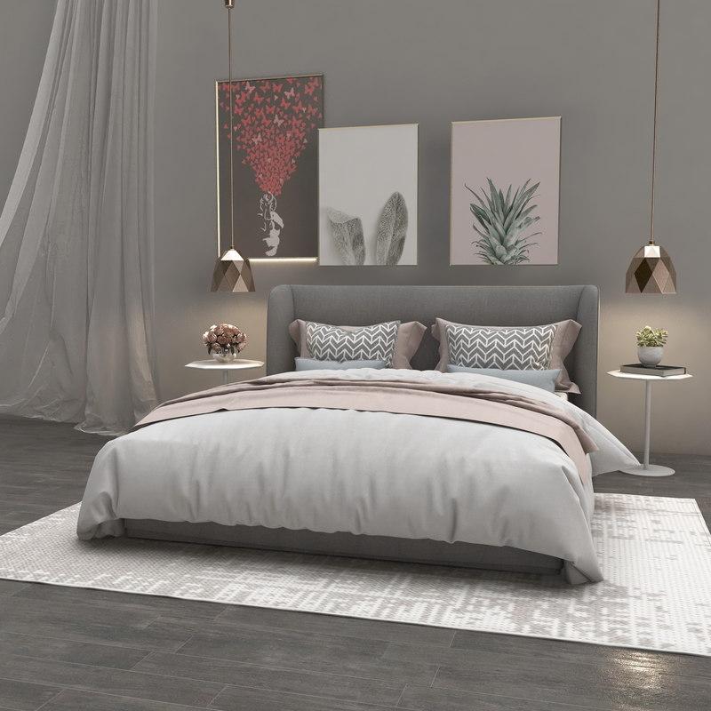 3D bed bedroom room