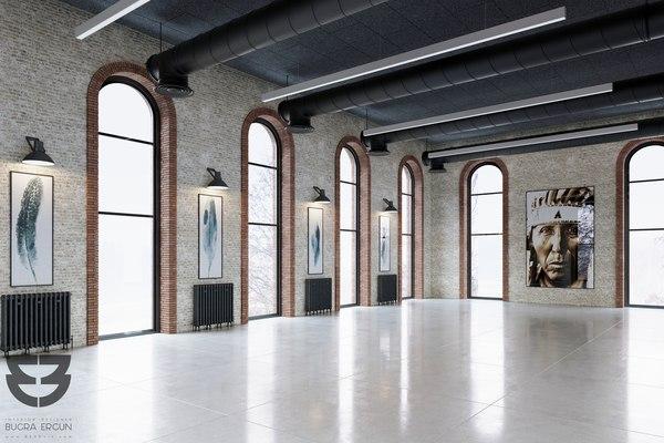 3D loft warehouse interior scene