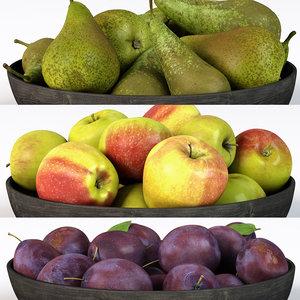 3D apple pear plum