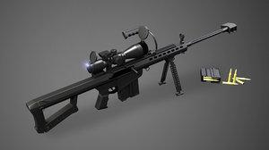 3D sniper rifle gun set model
