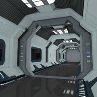 SciFi Spaceship Corridor 7 MAYA