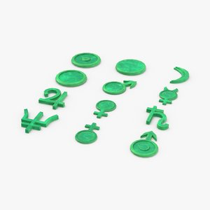 astrological symbols jade 3D