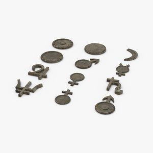 3D astrological symbols old stone model