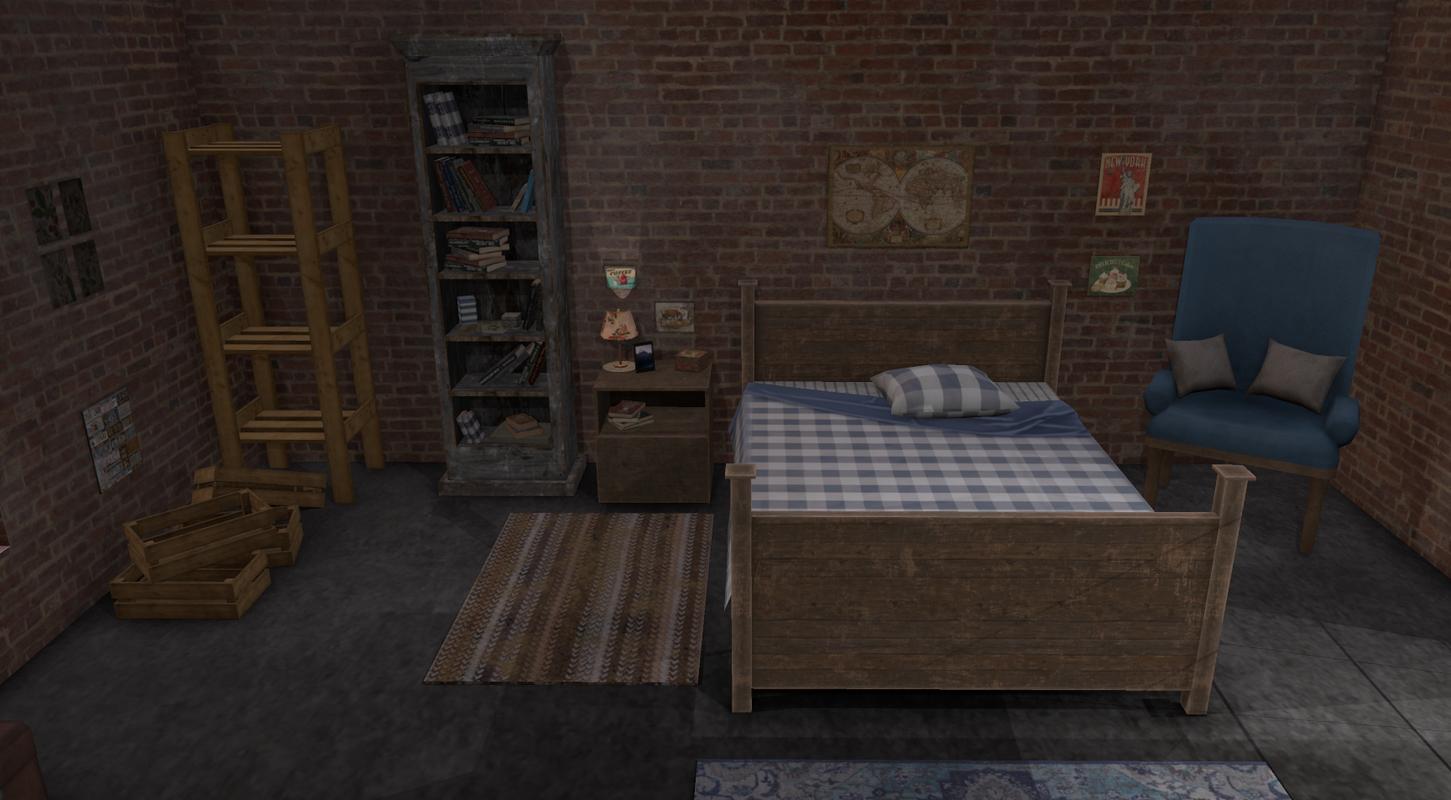 3D bedroom interior package bed model