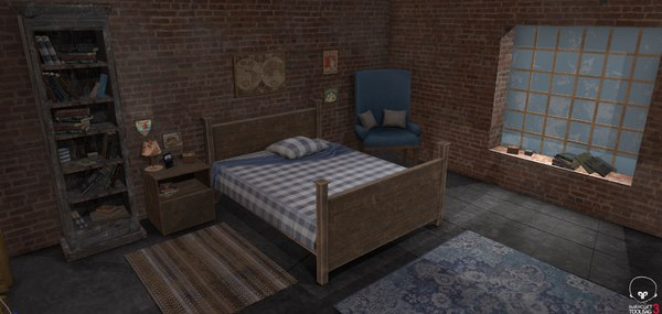 3D bedroom interior package bed model