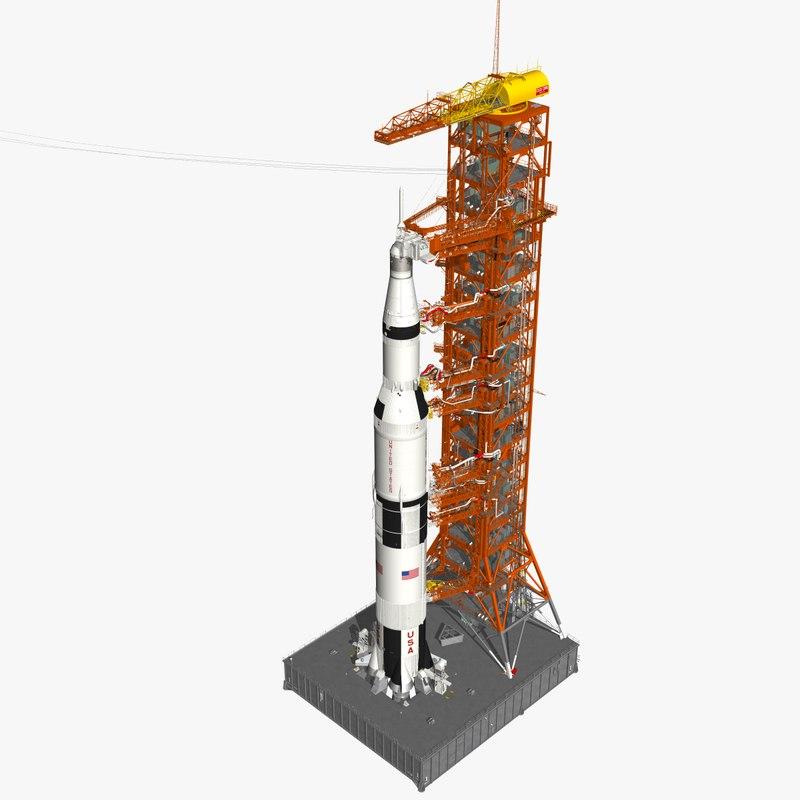 3D saturn apollo launch mobile launcher model