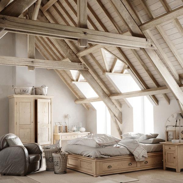 3D interior scene attic