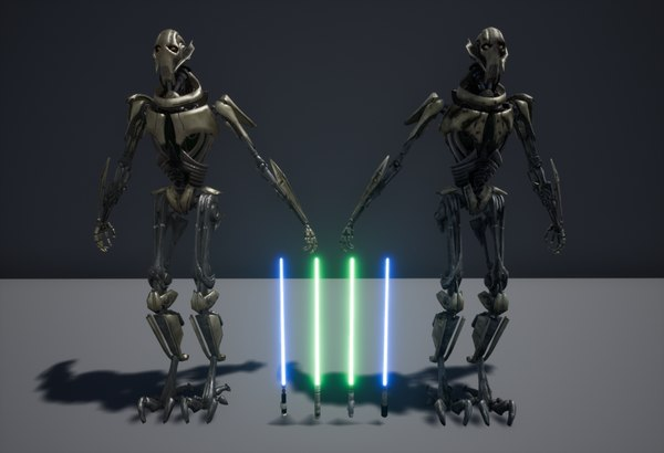 3D general grievous 2 lightsabers