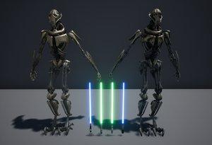 3D general grievous 2 lightsabers