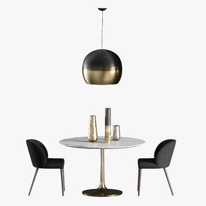 3D dining table nero